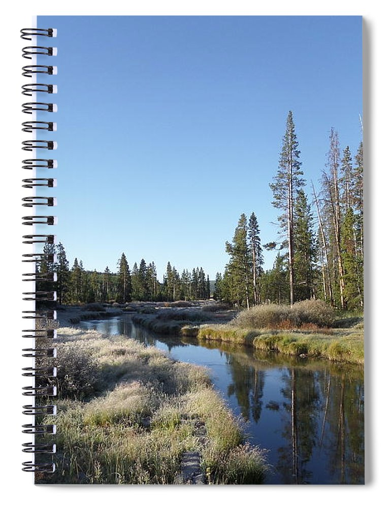 Blue Spiral Notebook featuring the photograph A Frosty Morning Along Obsidian Creek by Frank Madia