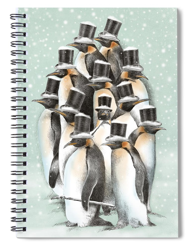 Penguins Spiral Notebook featuring the drawing A Gathering in the Snow by Eric Fan