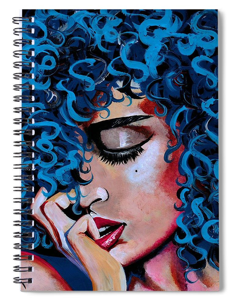 Model Spiral Notebook featuring the photograph A Happy Woman is a Satisfied Woman by Artist RiA