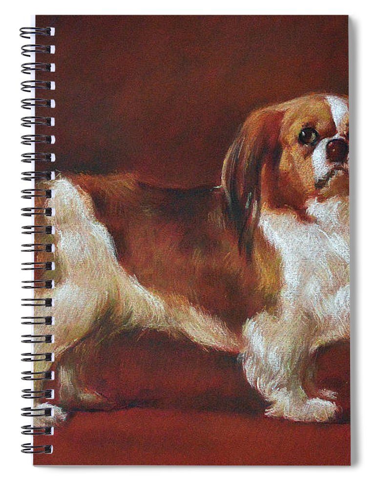 Pastel Spiral Notebook featuring the pastel A King Charles Spaniel by Iliyan Bozhanov
