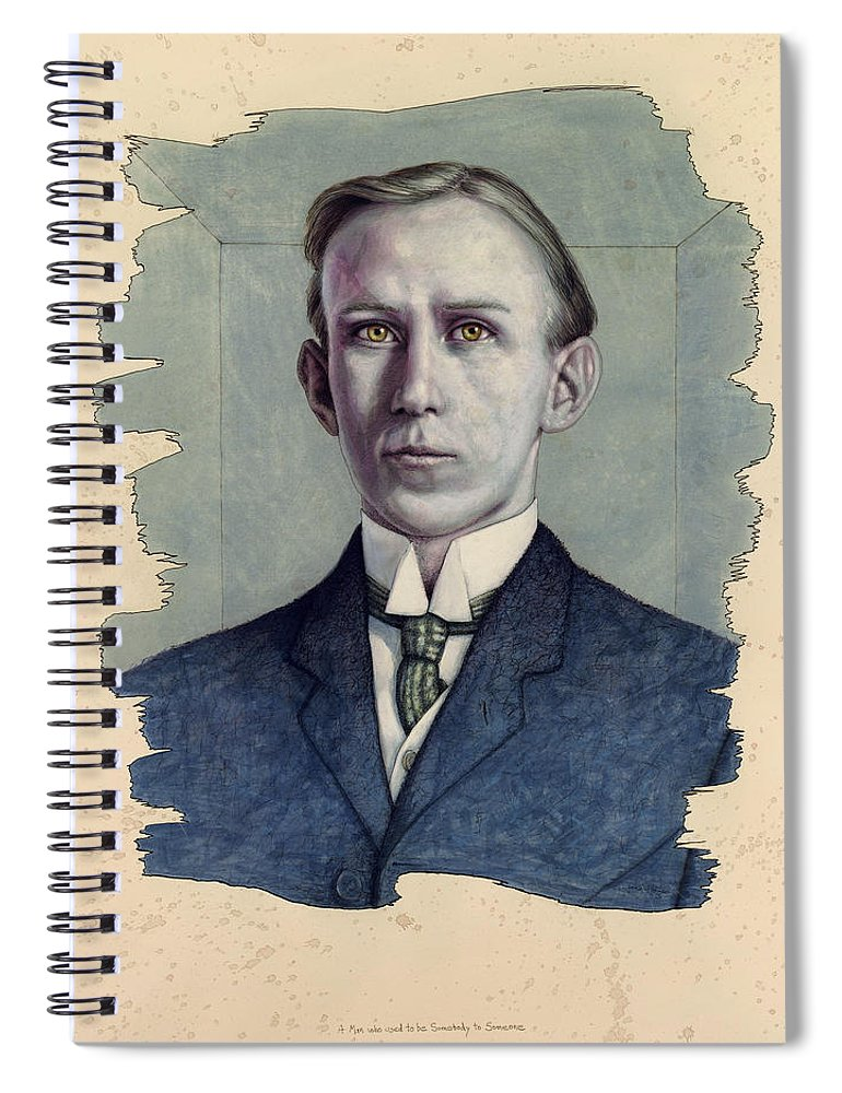Young Man Spiral Notebook featuring the painting A Man Who Used To Be Somebody To Someone by James W Johnson