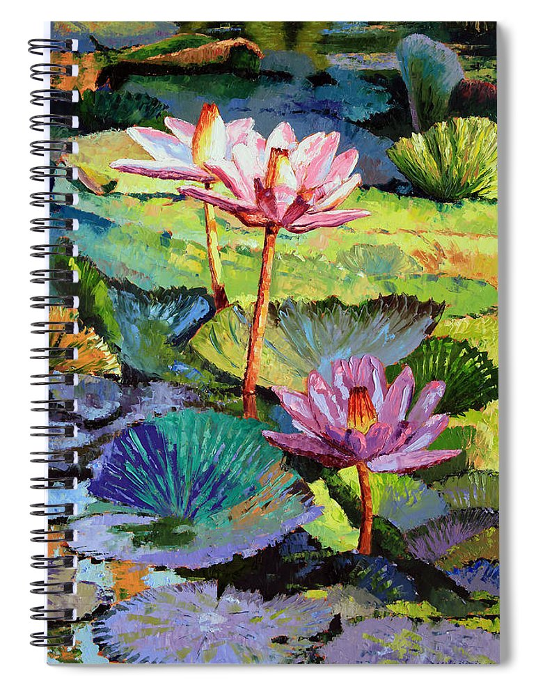 Water Lilies Spiral Notebook featuring the painting A Moment In Sunlight by John Lautermilch