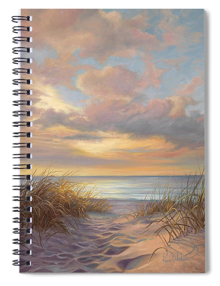 Beach Spiral Notebook featuring the painting A Moment Of Tranquility by Lucie Bilodeau