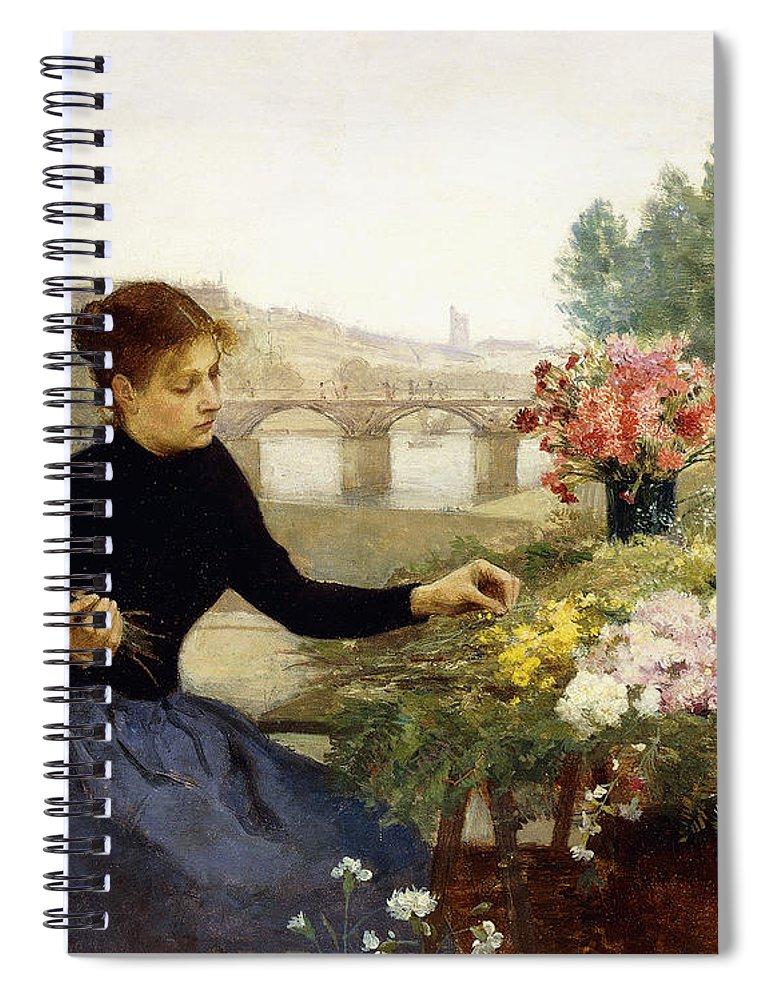 Victor Gabriel Gilbert Spiral Notebook featuring the painting A Parisian Flower Market by Victor Gabriel Gilbert