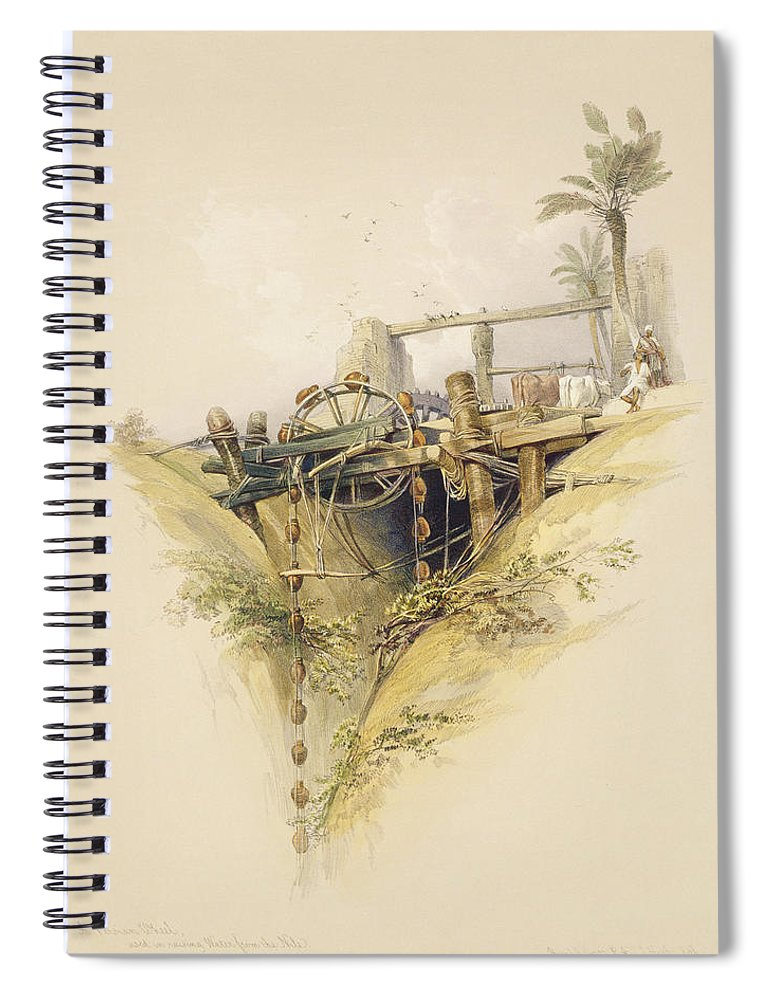 Irrigation Spiral Notebook featuring the drawing A Persian Water Wheel, Used In Raising by David Roberts