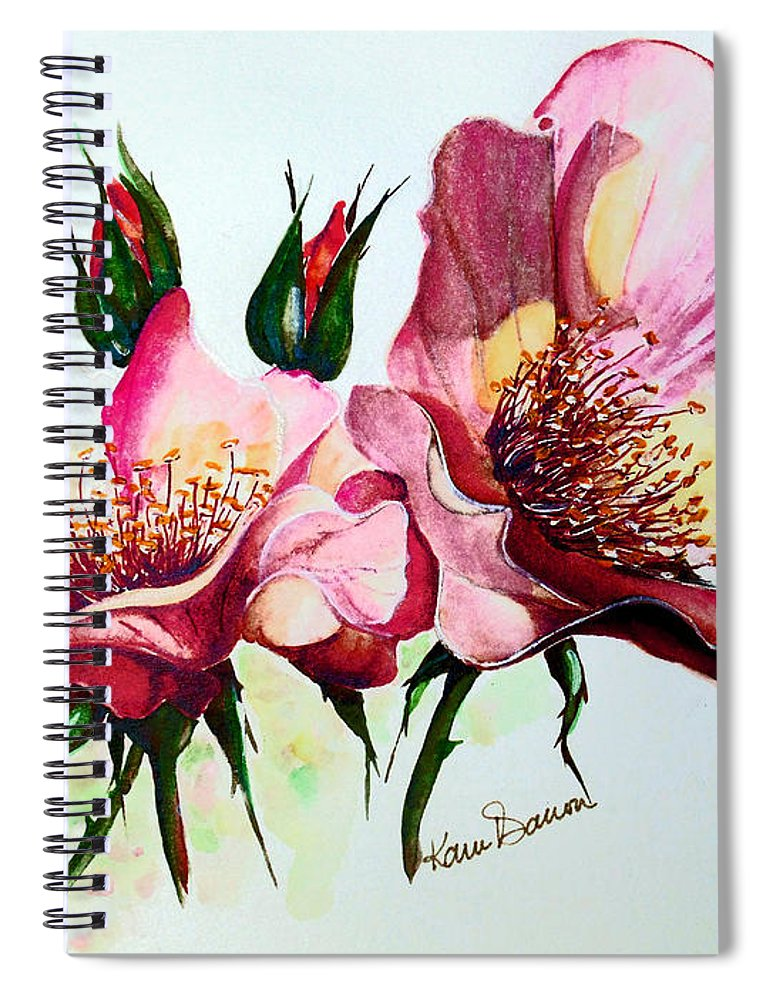 Flower Painting Spiral Notebook featuring the painting A Rose Is A Rose by Karin Dawn Kelshall- Best