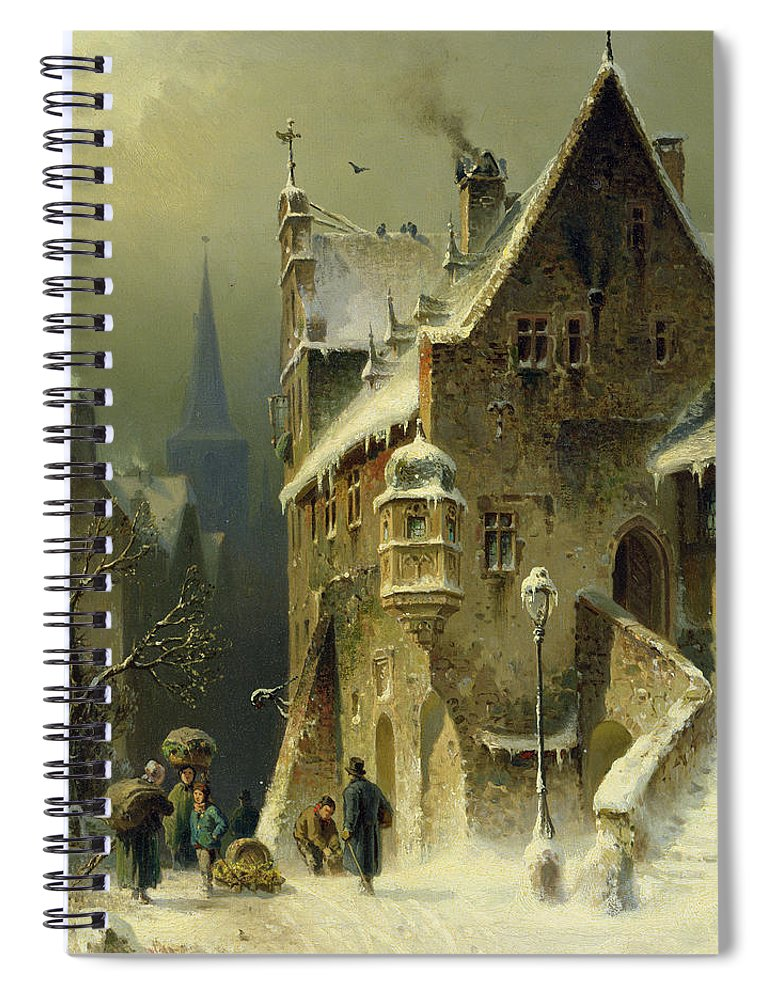 Schlieker Spiral Notebook featuring the painting A Small Town in the Rhine by August Schlieker