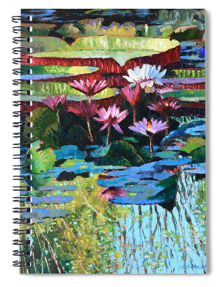 Garden Pond Spiral Notebook featuring the painting A Splash of Sunlight by John Lautermilch