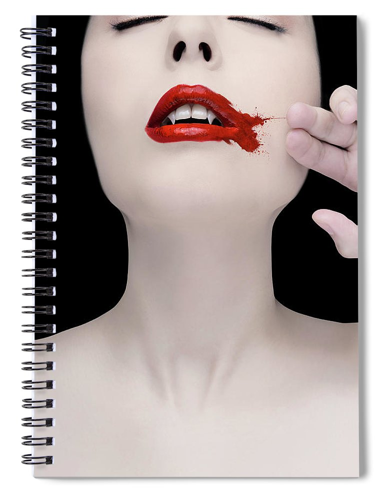 People Spiral Notebook featuring the photograph A Vampire Wiping Blood From Her Mouth by Colin Anderson