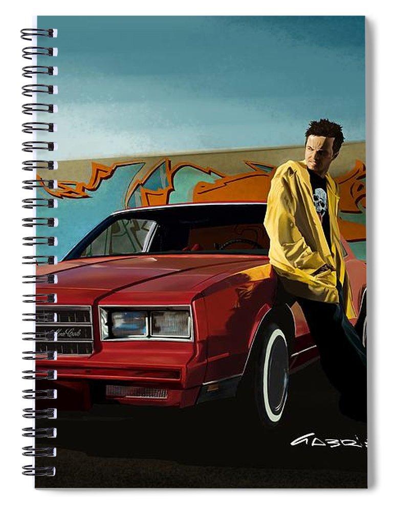 Aaron Paul Spiral Notebook featuring the digital art Aaron Paul as Jesse Pinkman @ TV serie Breaking Bad by Gabriel T Toro