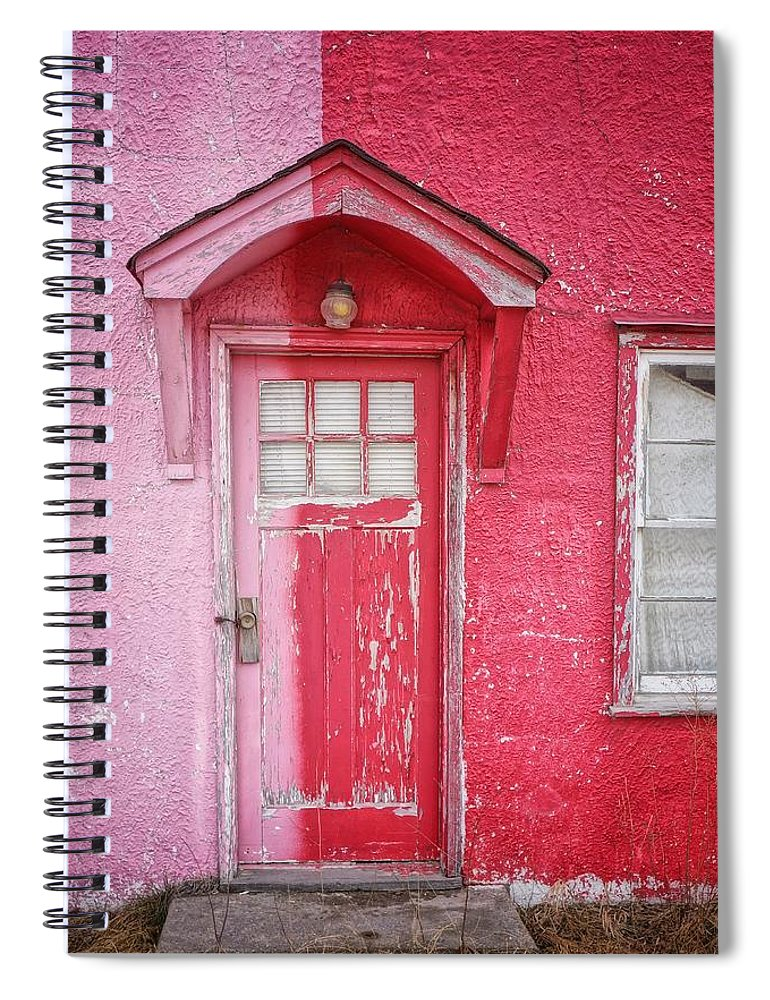 Built Structure Spiral Notebook featuring the photograph Abandoned Pink And Red House by Stan Strange / Eyeem