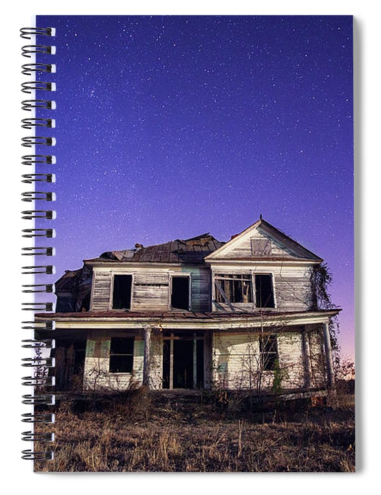 North Carolina Spiral Notebook featuring the photograph Abandoned Rural Farmhouse by Malcolm Macgregor