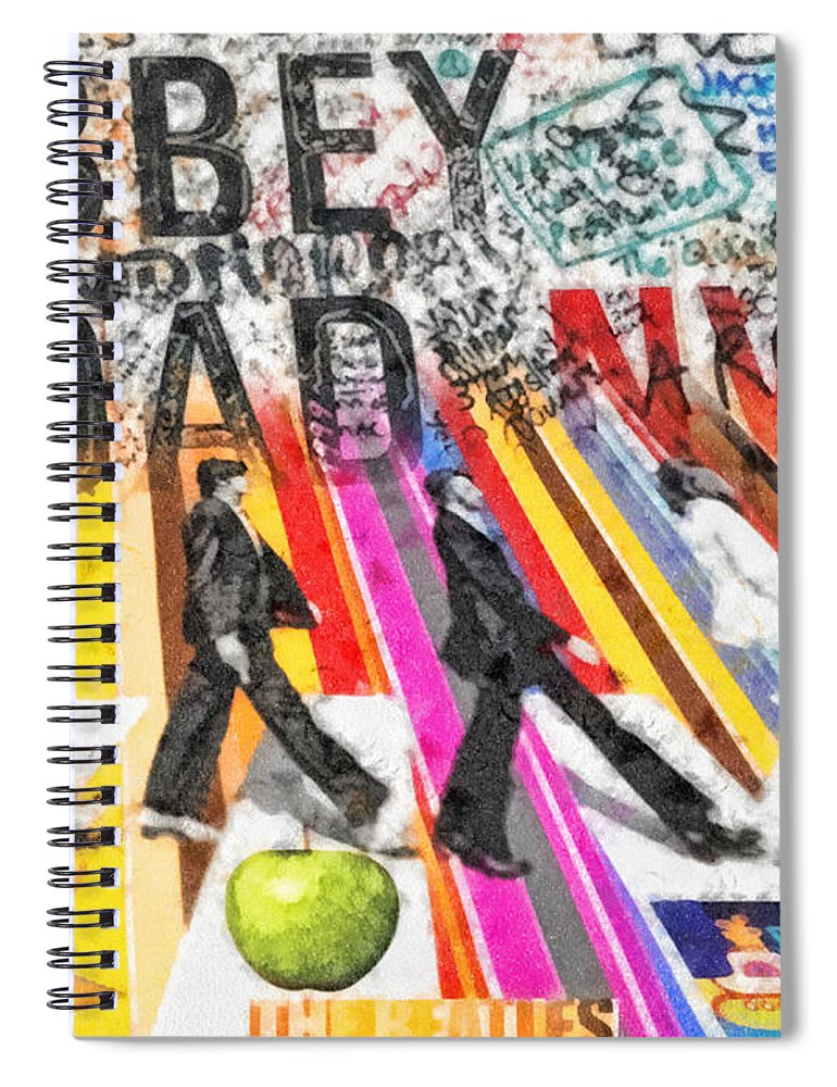 Abbey Road Spiral Notebook featuring the mixed media Abbey Road by Mo T