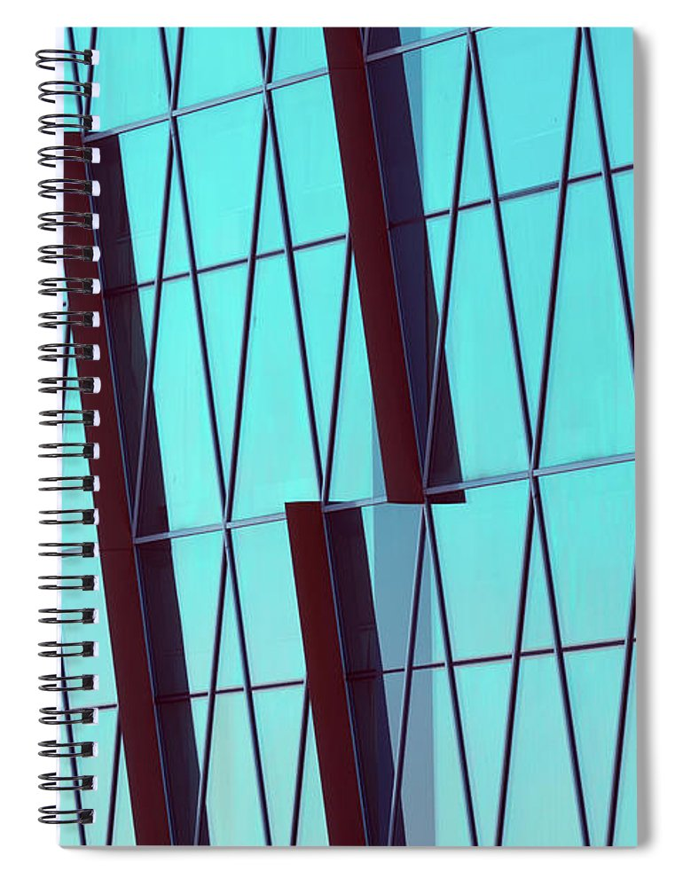 Ceiling Spiral Notebook featuring the photograph Abstract Glass Surface With Geometric by Aapsky