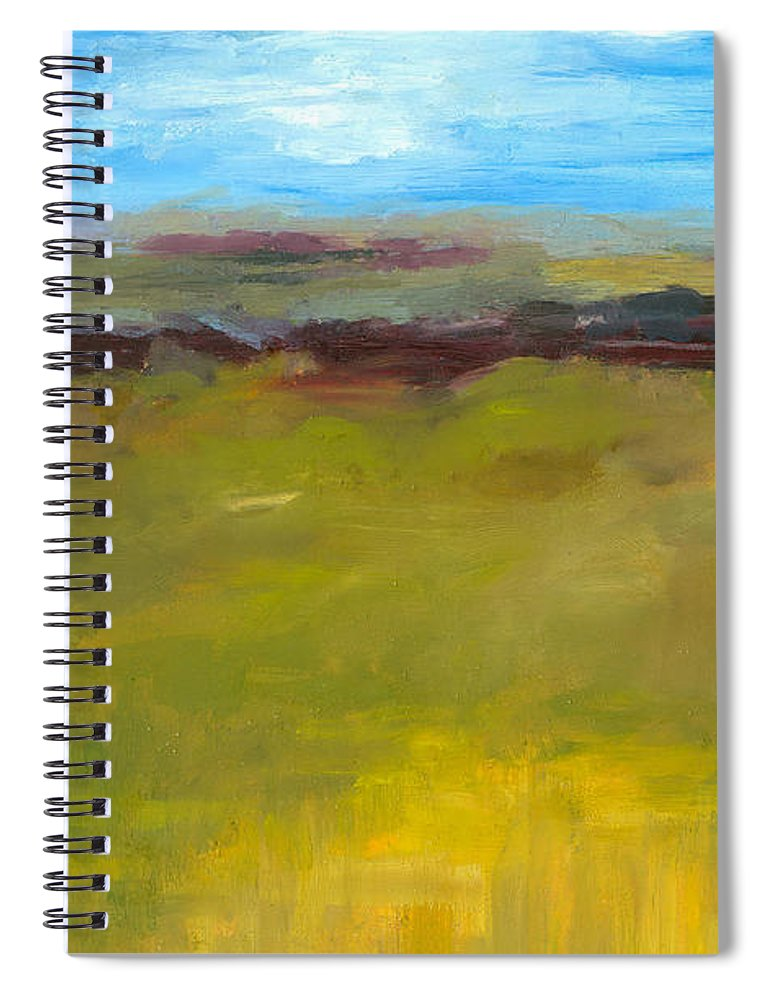 Abstract Expressionism Spiral Notebook featuring the painting Abstract Landscape - The Highway Series by Michelle Calkins