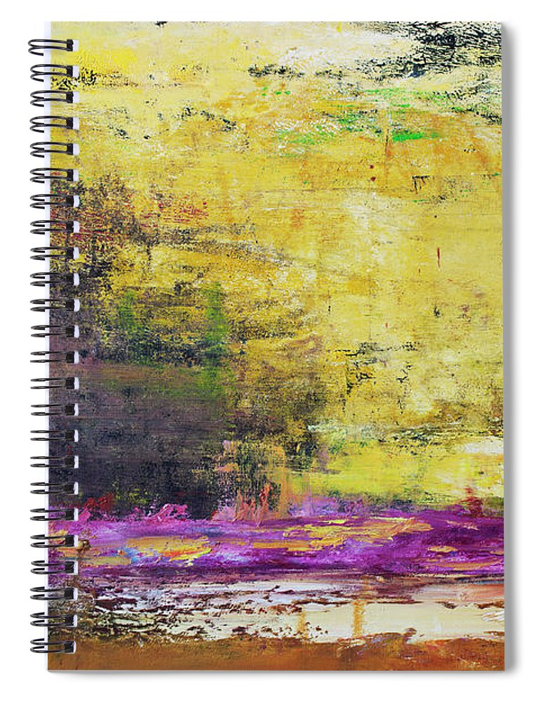 Oil Painting Spiral Notebook featuring the photograph Abstract Painted Yellow Art Backgrounds by Ekely