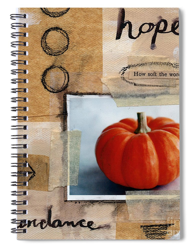 Pumpkin Spiral Notebook featuring the painting Abundance by Linda Woods
