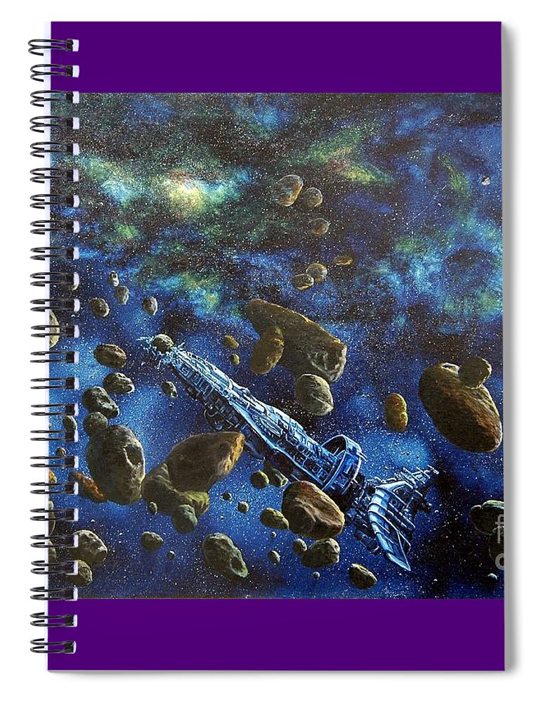 Canvas Spiral Notebook featuring the painting Accidental Asteroid by Murphy Elliott