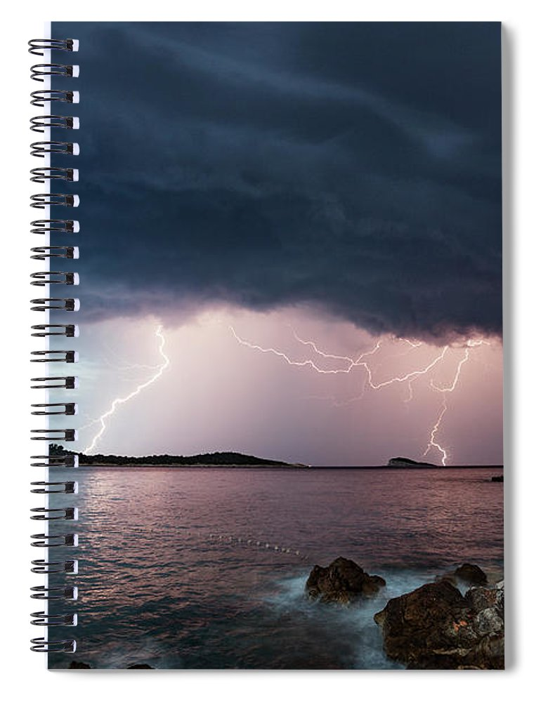 Adriatic Sea Spiral Notebook featuring the photograph Adriatic Lightning by Image By Chris Winsor