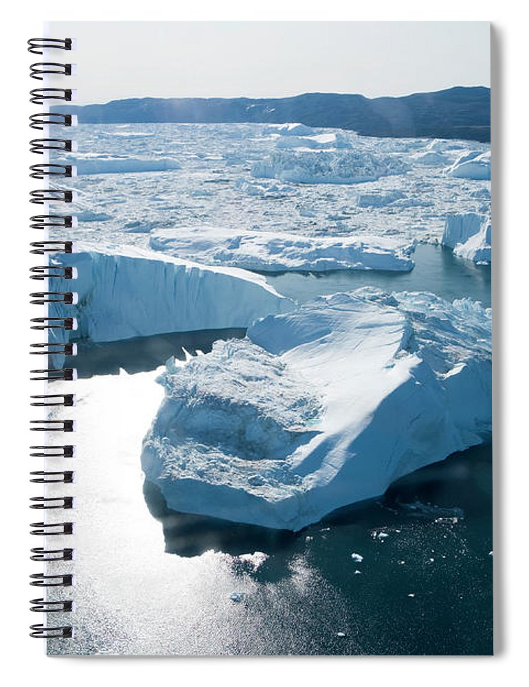Melting Spiral Notebook featuring the photograph Aerial Of Icebergs Of Ilulissat by Holger Leue