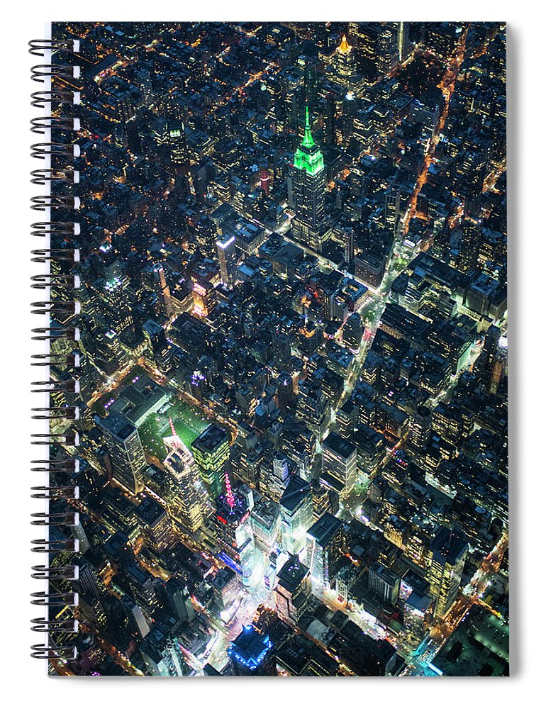 Outdoors Spiral Notebook featuring the photograph Aerial Photography Of Bloadway In Dusk by Michael H