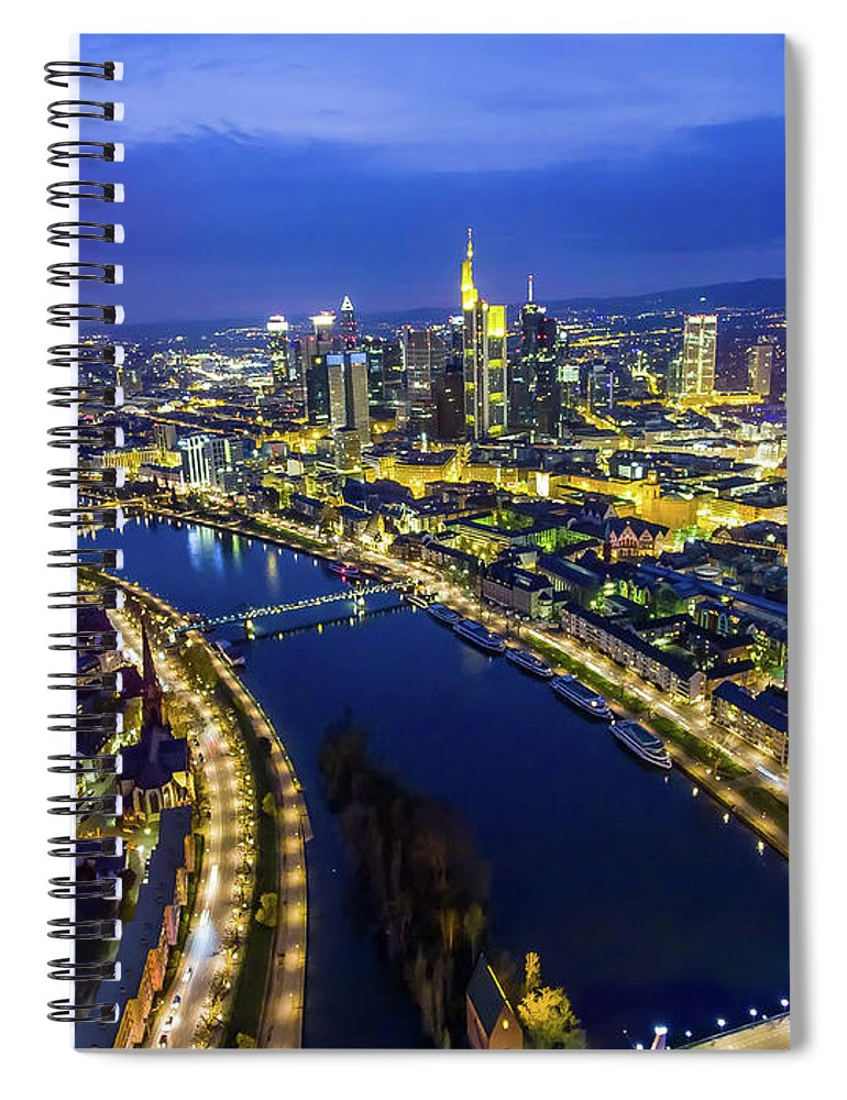 Corporate Business Spiral Notebook featuring the photograph Aerial View. Germany, Frankfurt, River by Malorny