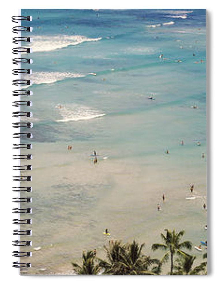 Photography Spiral Notebook featuring the photograph Aerial View Of A Beach, Waikiki Beach by Panoramic Images