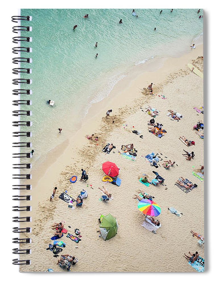 Honolulu Spiral Notebook featuring the photograph Aerial View Of Tourists On Beach by Alberto Guglielmi