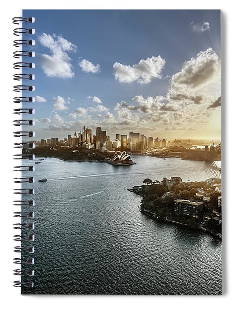 Sydney Harbor Bridge Spiral Notebook featuring the photograph Aeriall View Of Sydney Harbour At Sunset by Howard Kingsnorth