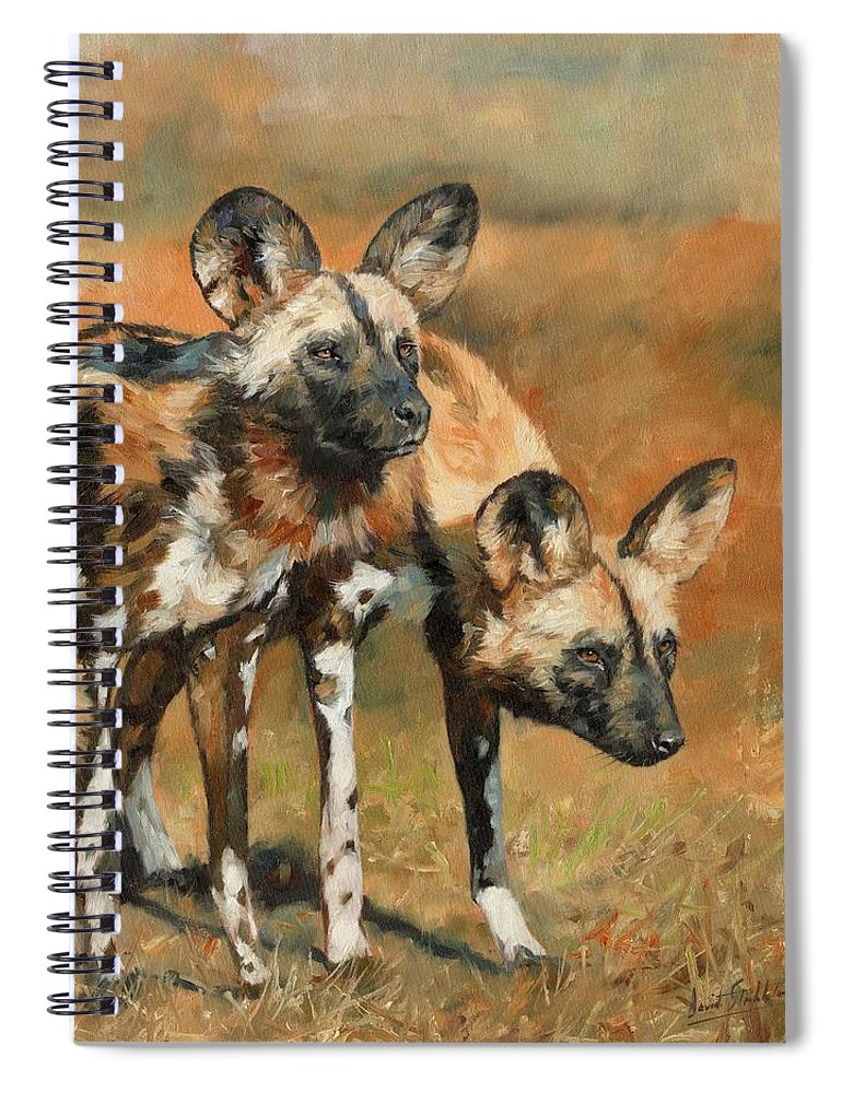 Wild Dogs Spiral Notebook featuring the painting African Wild Dogs by David Stribbling