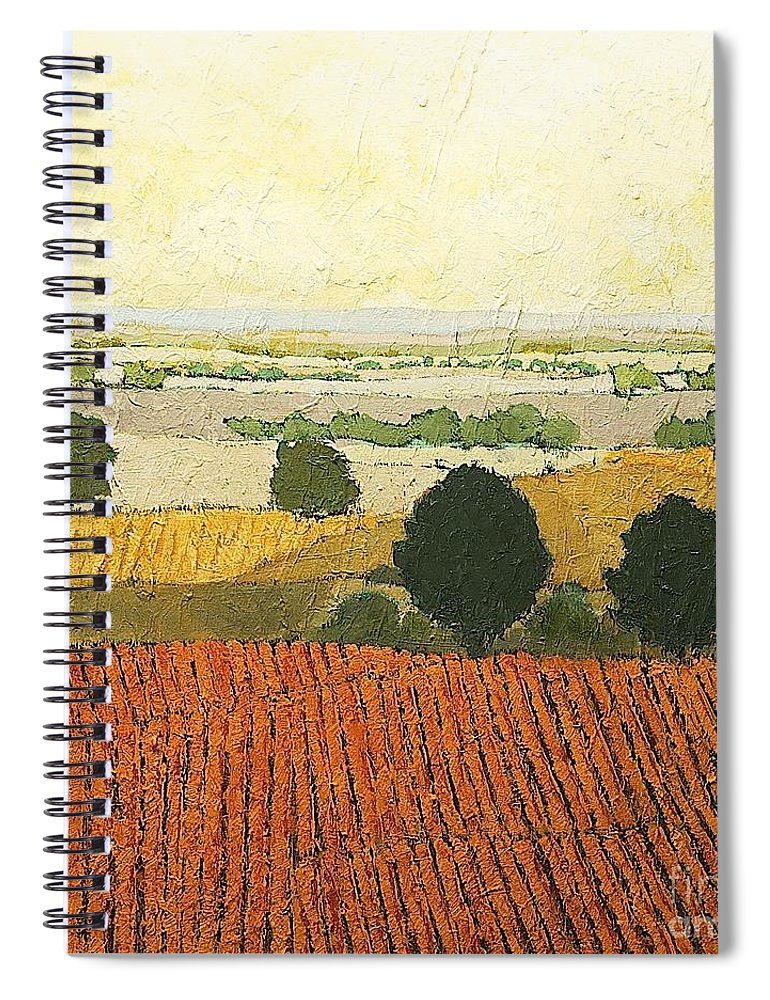 Landscape Spiral Notebook featuring the painting After Harvest by Allan P Friedlander
