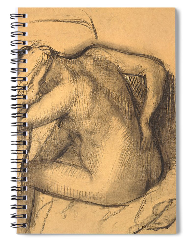 Edgar Degas Spiral Notebook featuring the drawing After The Bath .woman Drying Her Hair by Edgar Degas