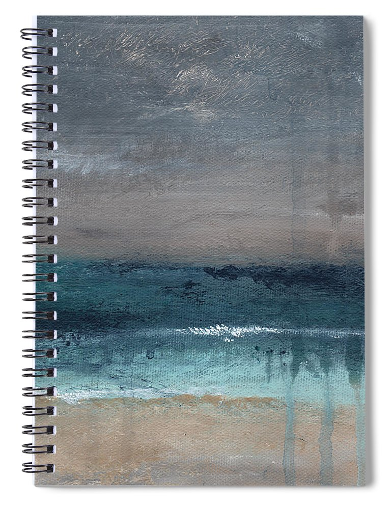 Abstract Landscape Spiral Notebook featuring the painting After The Storm- Abstract Beach Landscape by Linda Woods