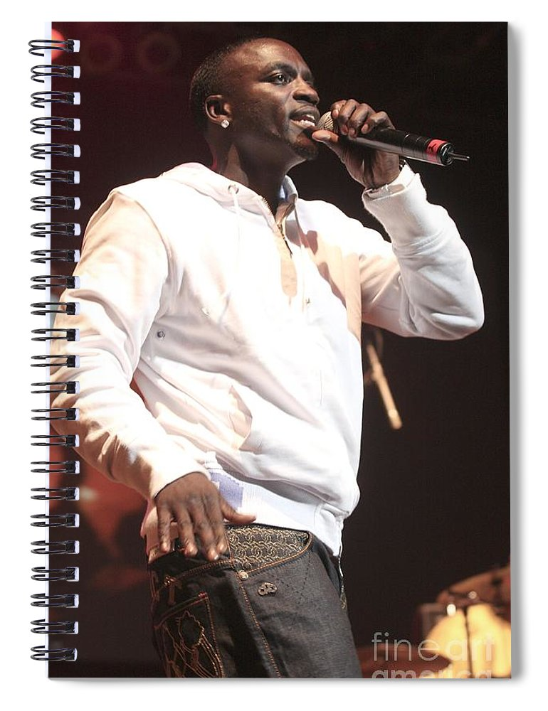 Rapper Spiral Notebook featuring the photograph Akon by Concert Photos