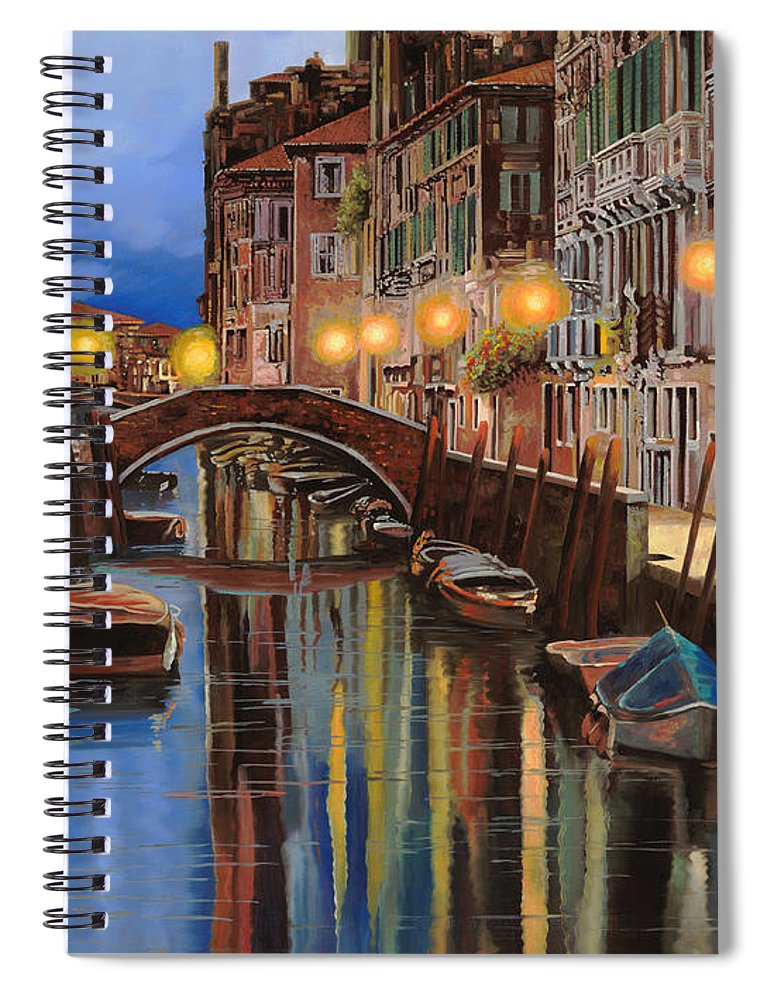 Venice Spiral Notebook featuring the painting alba a Venezia by Guido Borelli