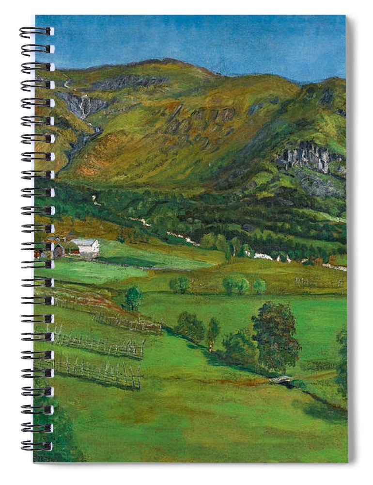 Nikolai Astrup Spiral Notebook featuring the painting Alhustunet. Jolster by Nikolai Astrup