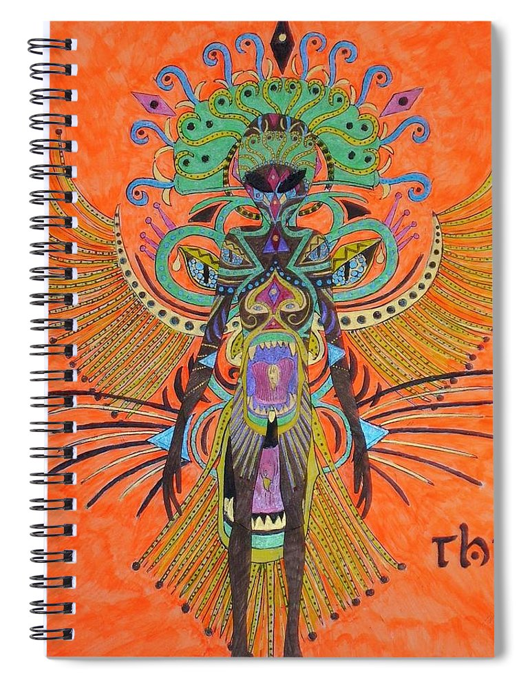Alien Spiral Notebook featuring the painting Alien With Thing by Michael Pasko
