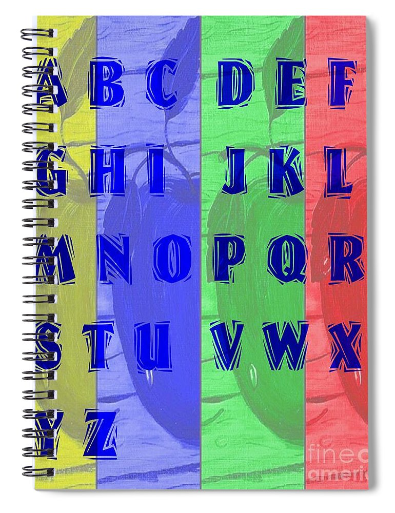 Alphabet With Apples Spiral Notebook featuring the digital art Alphabet With Apples by Barbara Griffin