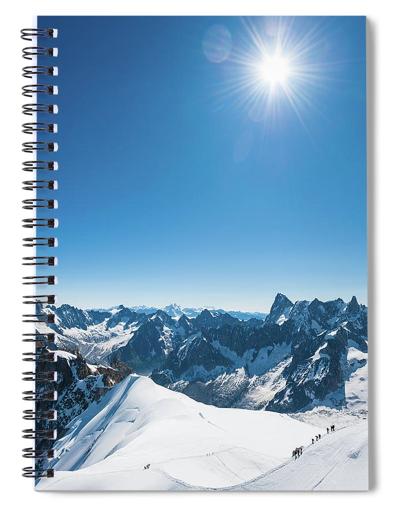 Scenics Spiral Notebook featuring the photograph Alps Snow Summit Sunburst Mountaineers by Fotovoyager