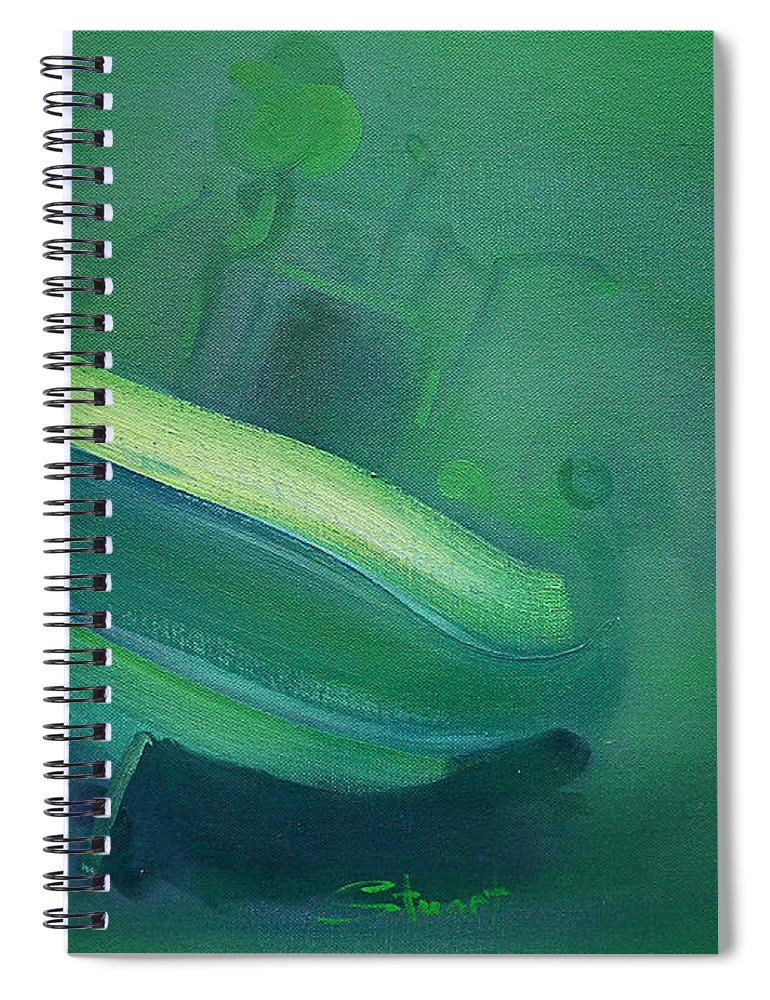Fishing Boat Spiral Notebook featuring the painting Alvor Working Boat by Charles Stuart