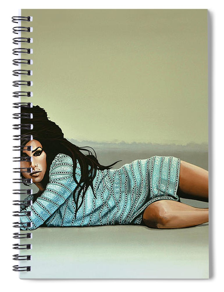 Amy Winehouse Spiral Notebook featuring the painting Amy Winehouse 2 by Paul Meijering