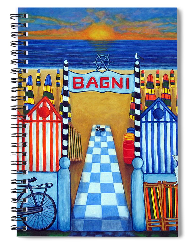 Italy Spiral Notebook featuring the painting An Italian Summer's End by Lisa Lorenz