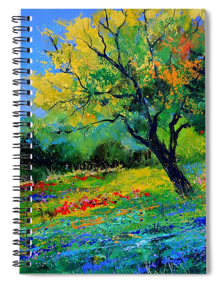 Landscape Spiral Notebook featuring the painting An oak amid flowers in Texas by Pol Ledent