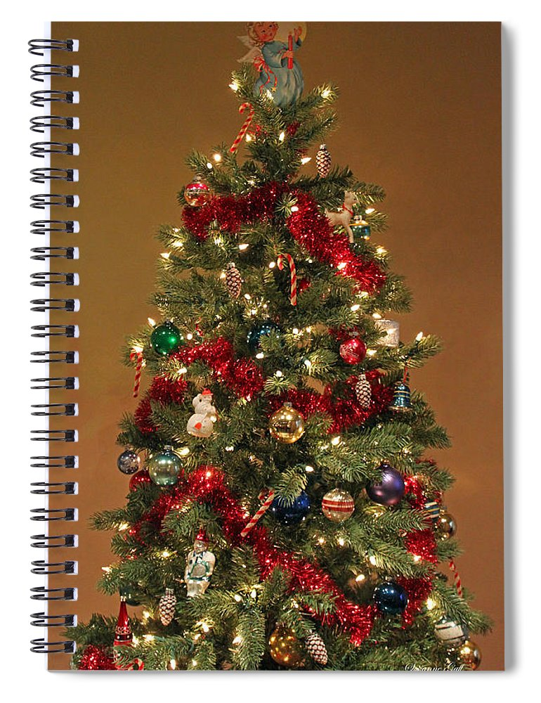 christmas spiral notebook featuring the photograph an old fashioned christmas tree by suzanne gaff