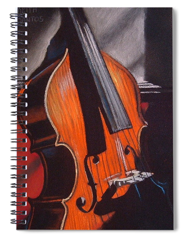 Upright Bass Spiral Notebook featuring the pastel And Daddy Played Bass by Keith Gantos