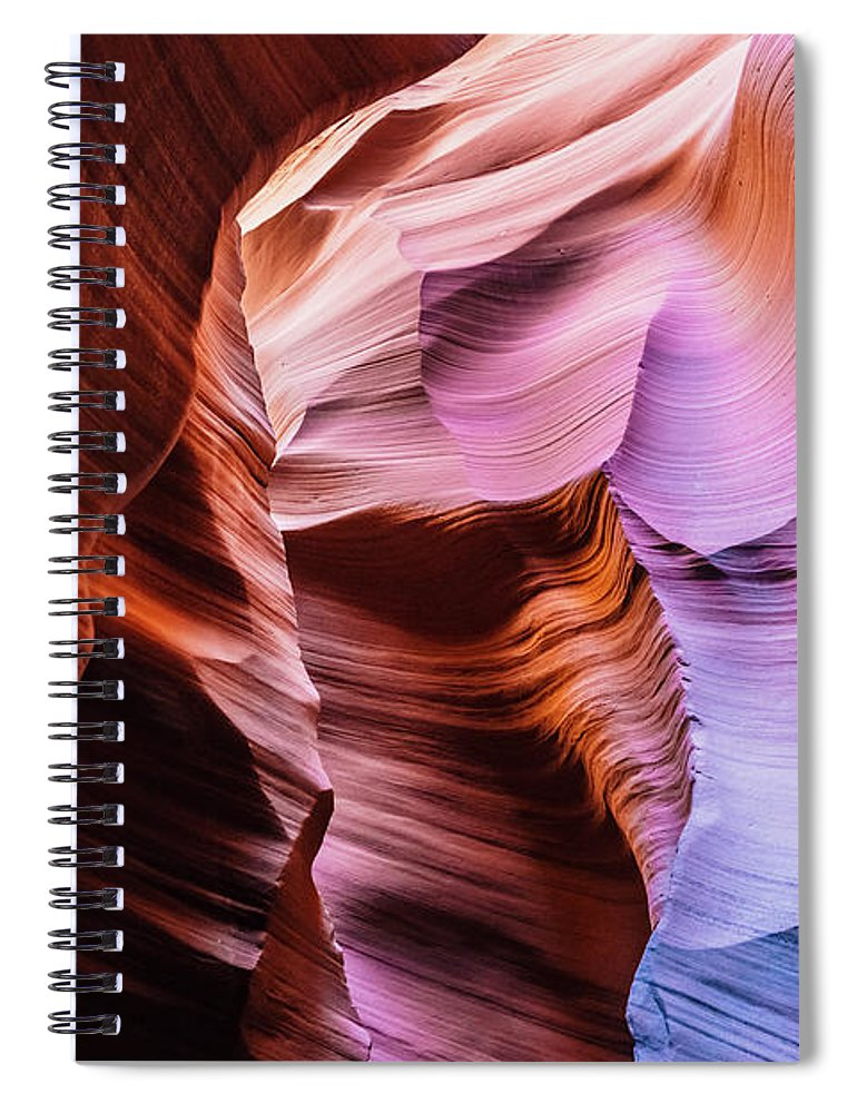 Curve Spiral Notebook featuring the photograph Antelope Canyon Spiral Rock Arches by Deimagine