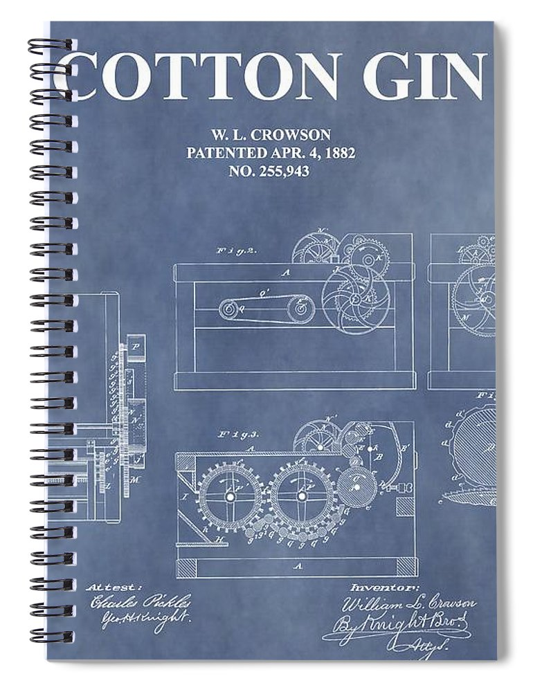 1882 Cotton Gin Patent Spiral Notebook featuring the mixed media Antique Cotton Gin Patent by Dan Sproul