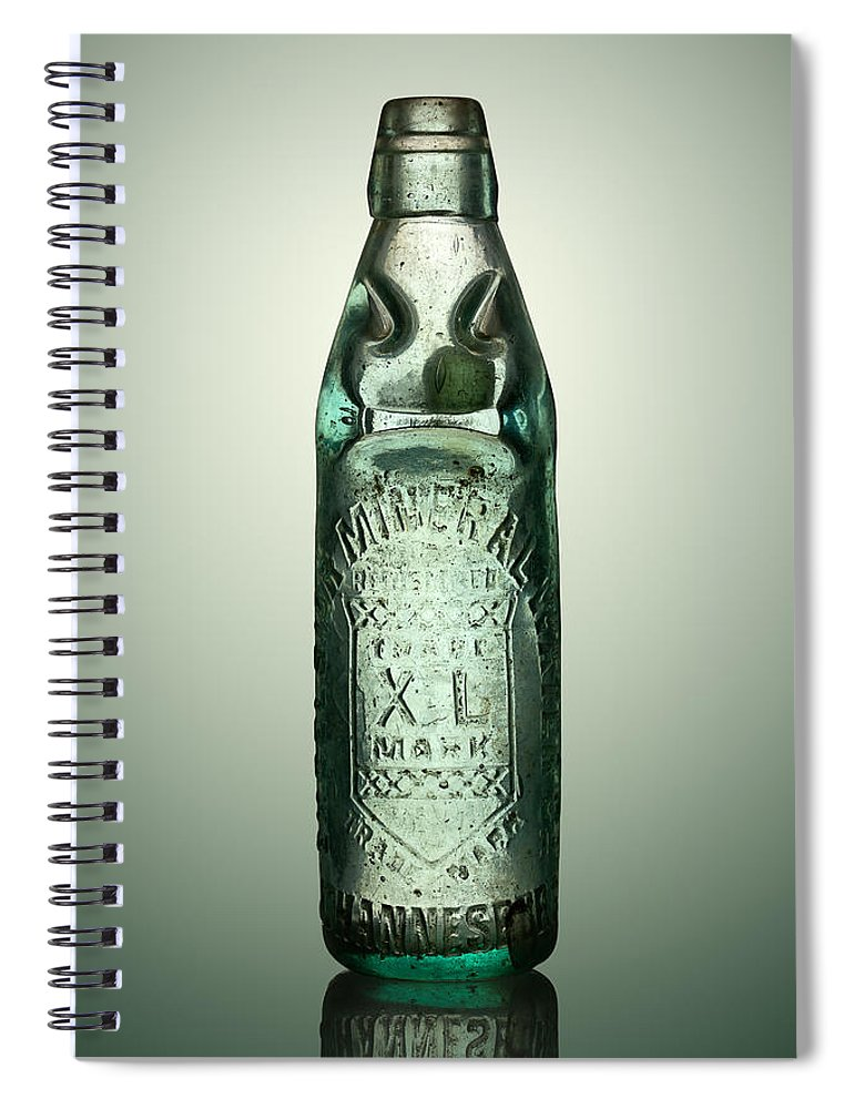 Antique Spiral Notebook featuring the photograph Antique Mineral Glass Bottle by Johan Swanepoel