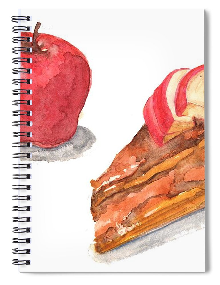Watercolor Painting Spiral Notebook featuring the digital art Apple Cake by Kana hata