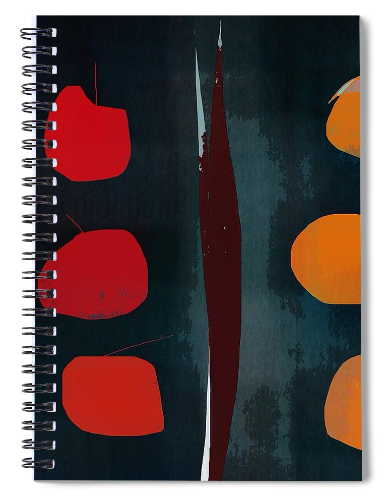 Abstract Spiral Notebook featuring the digital art Apples And Oranges by John Allen